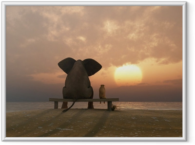 Plakat w ramie Słoń i pies siedzieć na plaży latem