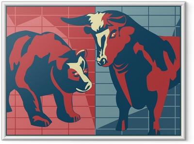 Póster Enmarcado Bull and Bear - estilo del cartel