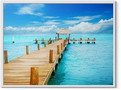 Ingelijste Poster Vakantie in Tropic Paradise. Pier op Isla Mujeres, Mexico