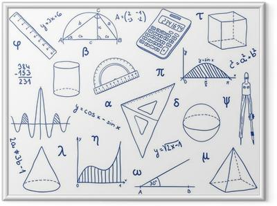 Gerahmtes Poster Mathematik - Schulbedarf, geometrische Formen und Ausdrücke