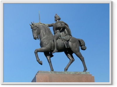 Gerahmtes Poster Statue des Königs Tomislav Reiten, Zagreb, Kroatien