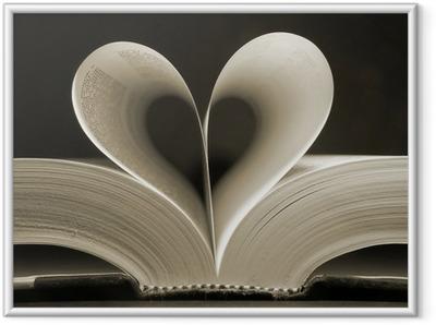Ingelijste Poster Hartvormige boek