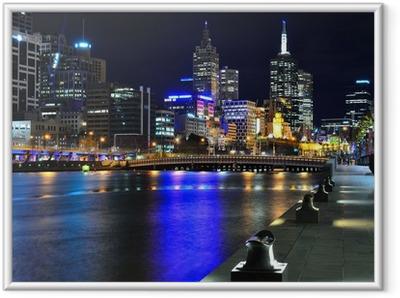 Gerahmtes Poster Melbourne meiner Skyline und Yarra River
