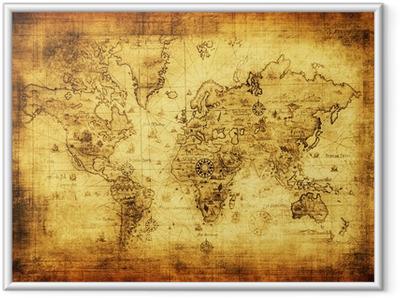 Poster en cadre Ancienne carte du monde.