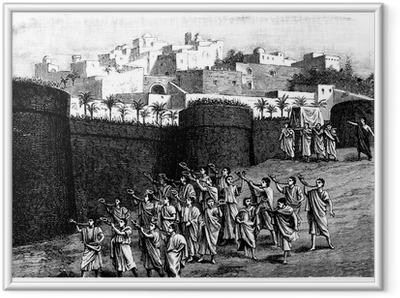 Poster en cadre Tomber les murs de Jéricho - scène biblique