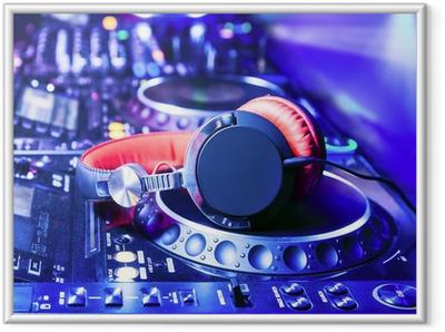 Dj mixer with headphones Framed Poster