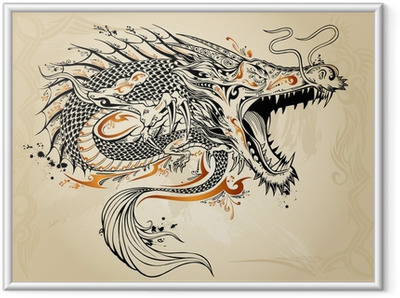 Gerahmtes Poster Drache Doodle Sketch Tattoo Vector