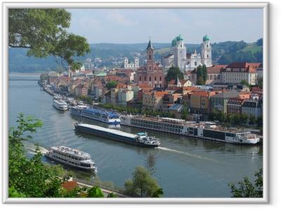 Ingelijste Poster Passau, de stad van Three Rivers, Beieren, Duitsland.