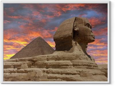 Pyramid and Sphinx at Giza, Cairo Framed Poster