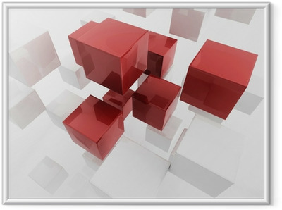 White 3d boxes / cube | Business Concept Wallpaper Framed Poster