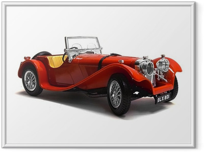 Gerahmtes Poster Modellauto Oldtimer, Classic Car