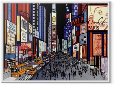 Ingelijste Poster New York - avond uitzicht van Times Square