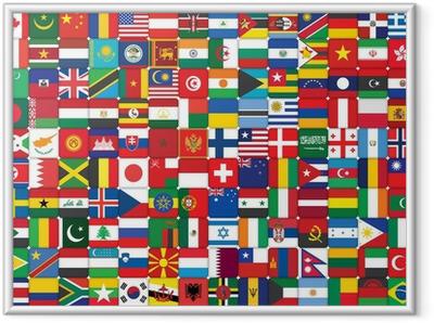 Ingelijste Poster Achtergrond die van vlaggen pictogrammen