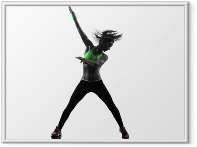 woman exercising fitness zumba dancing silhouette Framed Poster