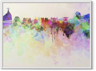 Poster i Ram Rio de Janeiro skyline i akvarell bakgrund