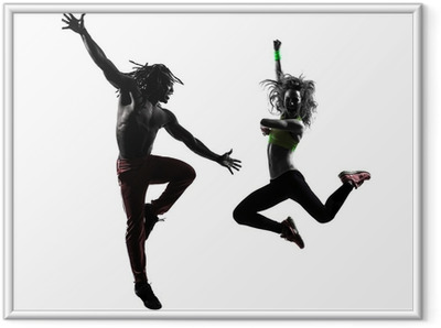 couple man and woman exercising fitness zumba dancing silhouette Framed Poster