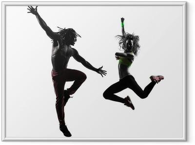 Ingelijste Poster Paar man en vrouw te oefenen fitness zumba dansen silhouet