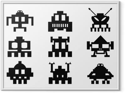 Innrammet plakat Space Invaders ikoner sett - pixel monstre