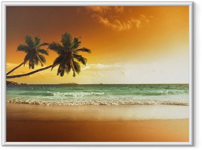 Póster com Moldura sunset on the beach of caribbean sea