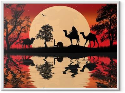 Gerahmtes Poster Beduinen Kamelkarawane