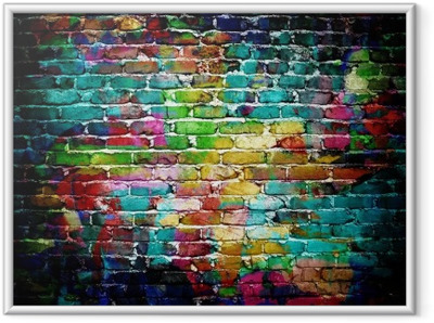 graffiti brick wall Framed Poster