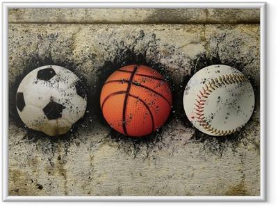 Poster i Ram Basket, baseball och fotboll
