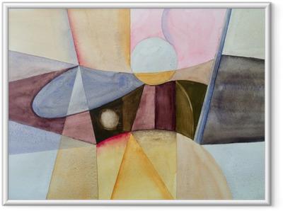 Gerahmtes Poster Eine modernistische abstrakte Aquarell