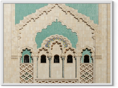 Morocco. Detail of Hassan II Mosque in Casablanca Framed Poster