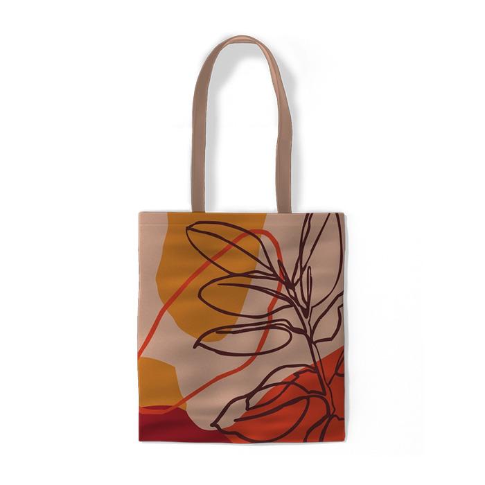 Pomarańczowe tło liście i kształty Torby bawełniane -