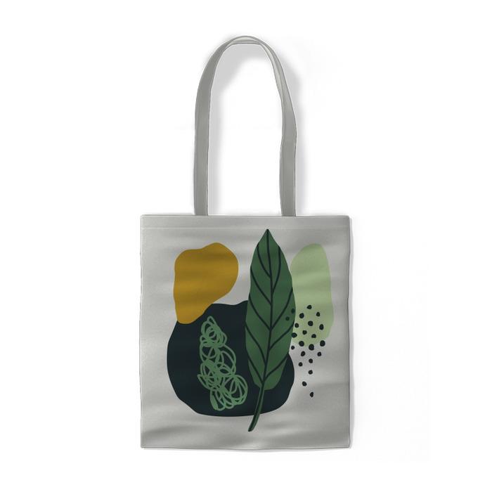 Moderne Komposition mit Sommerblättern Baumwolltaschen -