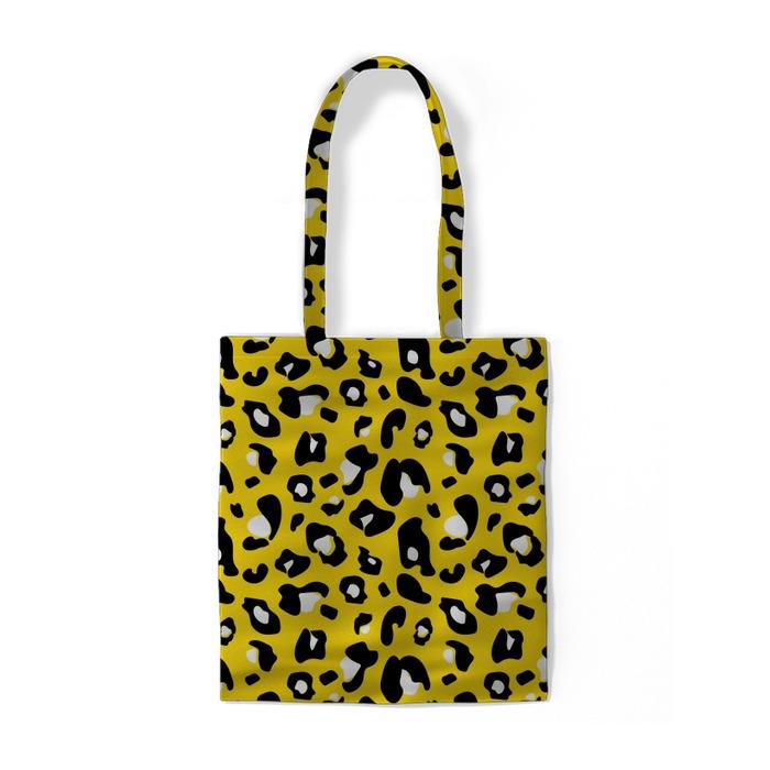Żółty wzór pantera Torby bawełniane -