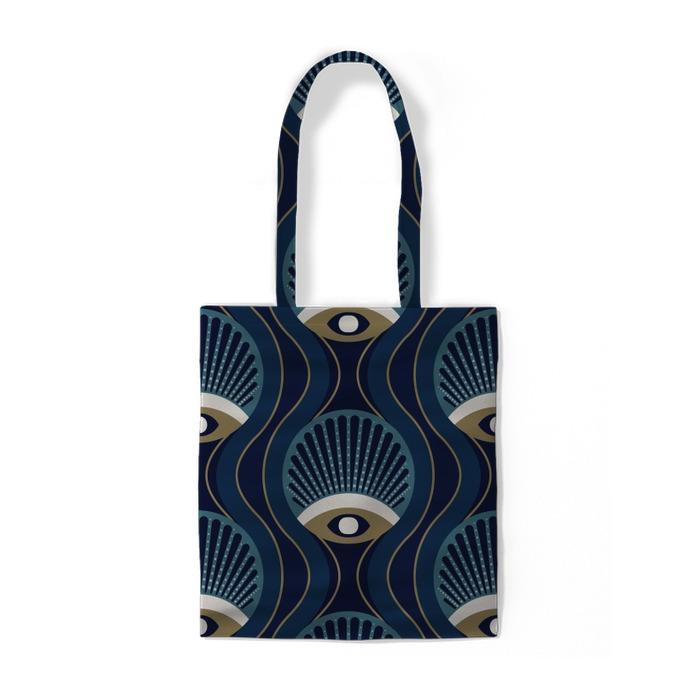 Stilfuldt geometrisk mønster fra 1950'erne. Bomuldspose -