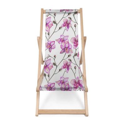 Sedia a sdraio Bellissime orchidee di fioritura rosse originali. arte dell'acquerello