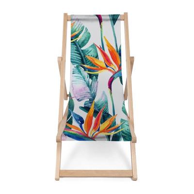 Leżak plażowy Akwarela tropikalny wzór z kwiatów bird-of-paradise.
