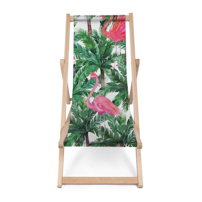 Leżak plażowy Akwarela różowe flamingi, egzotyczne ptaki, tropikalne liście palmowe. s - Zasoby graficzne