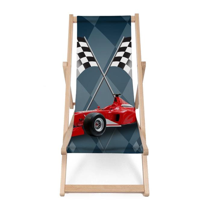 Leżak plażowy Wzór czerwony samochód i flag - Tematy