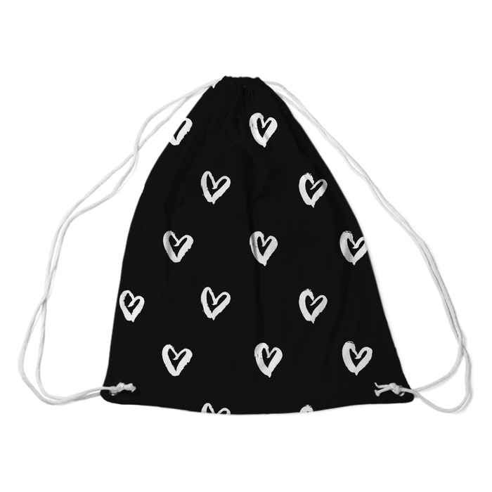 Wzór z ręcznie rysowane białe serca. słodkie czarno-białe tło. ilustracji wektorowych. Plecaki - Zasoby graficzne