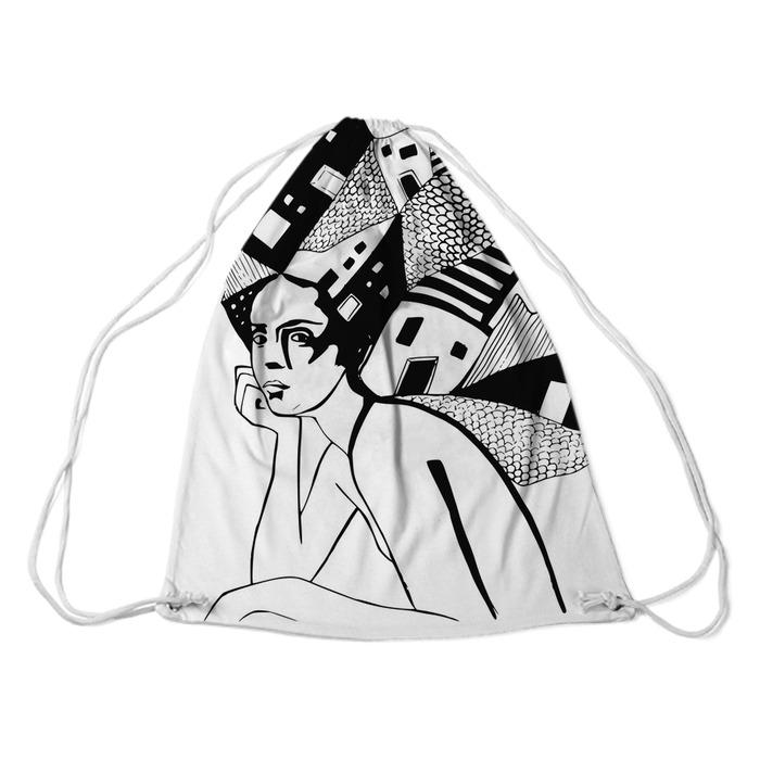 illustration, graphic black-and-white portrait of woman Plecaki - Inne
