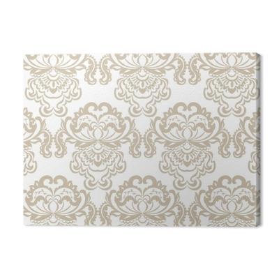 Vector floral damask baroque ornament pattern element. Elegant luxury texture for textile, fabrics or wallpapers backgrounds. Beige color Premium prints