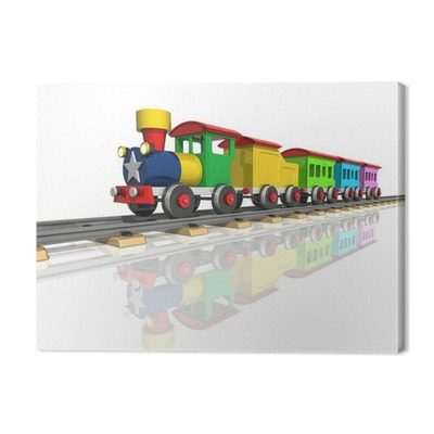Toy train with multicolored carriages. 3d render Premium prints