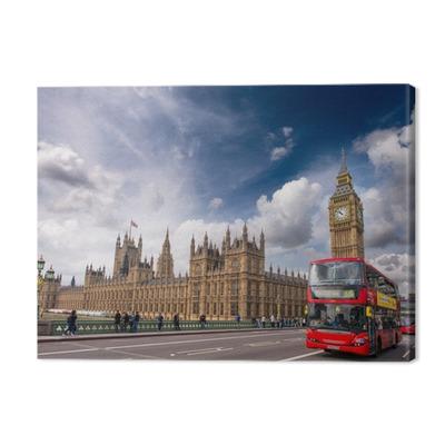 London. Classic Red Double Decker Buses on Westminster Bridge Premium prints