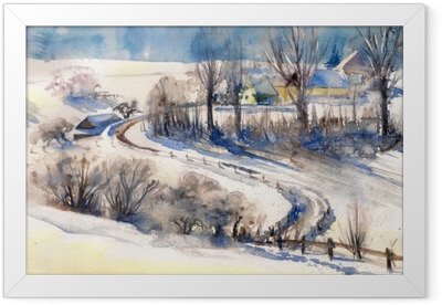 Winter landscape with road to village.Picture created with watercolors. Framed Poster