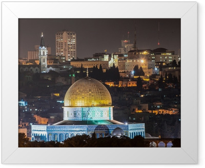 Dome of the Rock at night Framed Poster