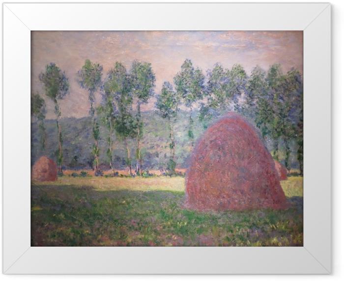 Gerahmtes Poster Claude Monet - Heuhaufen bei Giverny - Reproduktion
