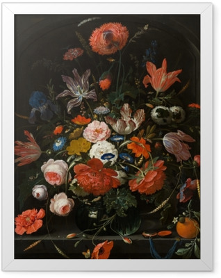 Abraham Mignon - Flowers in a Glass Vase Framed Poster
