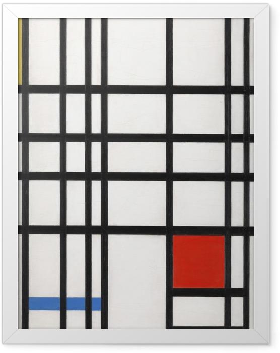 Poster en cadre Piet Mondrian - Composition avec jaune, bleu et rouge - Reproductions