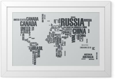 Plakát v rámu Mapa světa: obrysy země sestává ze slov