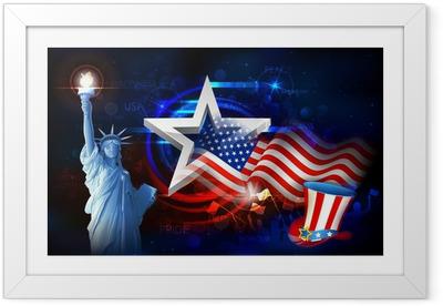 Ingelijste Poster Vrijheidsbeeld met Amerikaanse Vlag