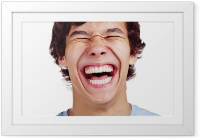 Happy teenage laugh closeup over white Framed Poster