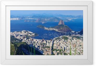 Ingelijste Poster De berg Sugar Loaf en Botafogo in Rio de Janeiro